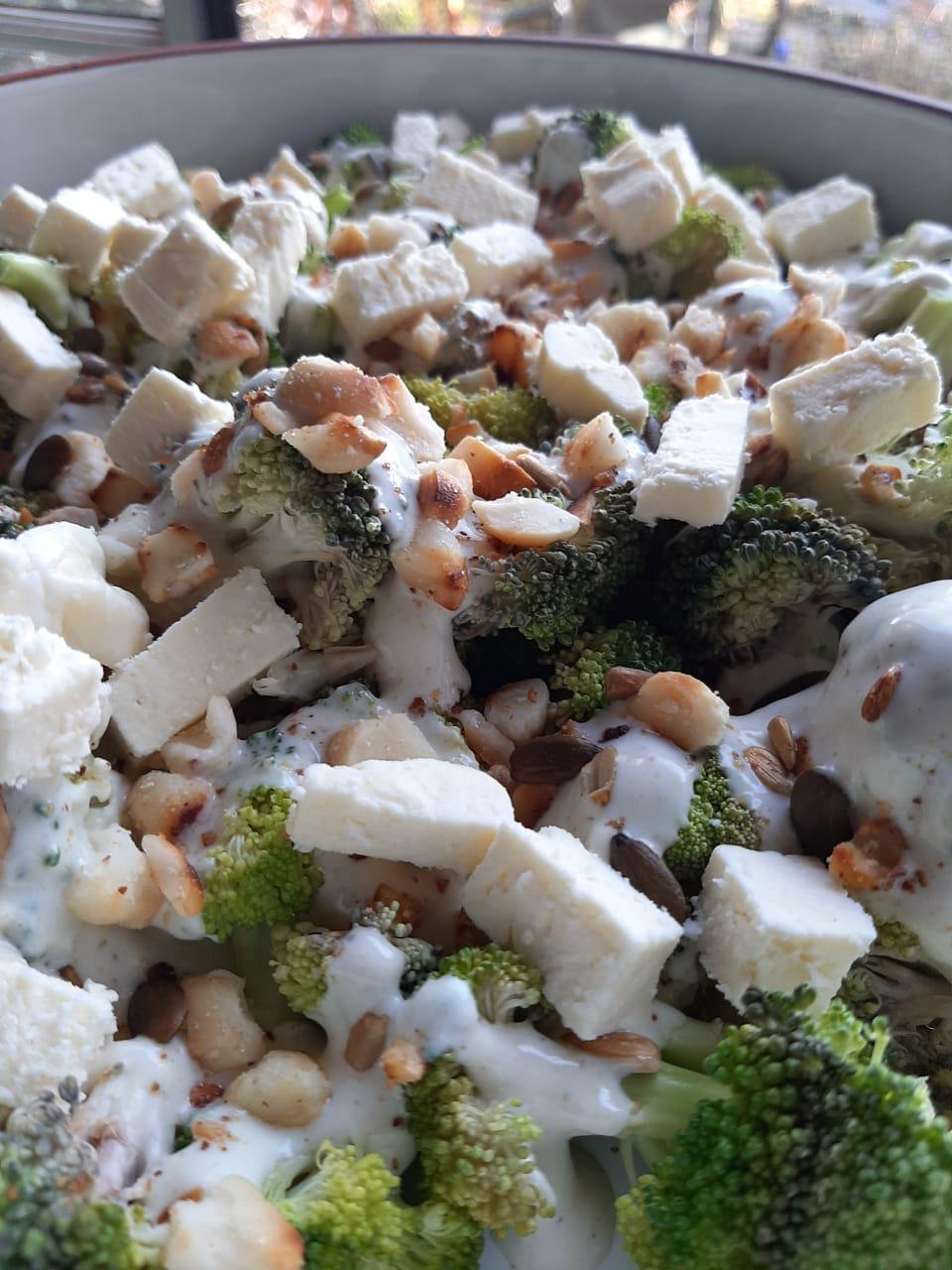 Lorraine's Broccoli Macadamia Salad with a Cumin Yogurt Dressing