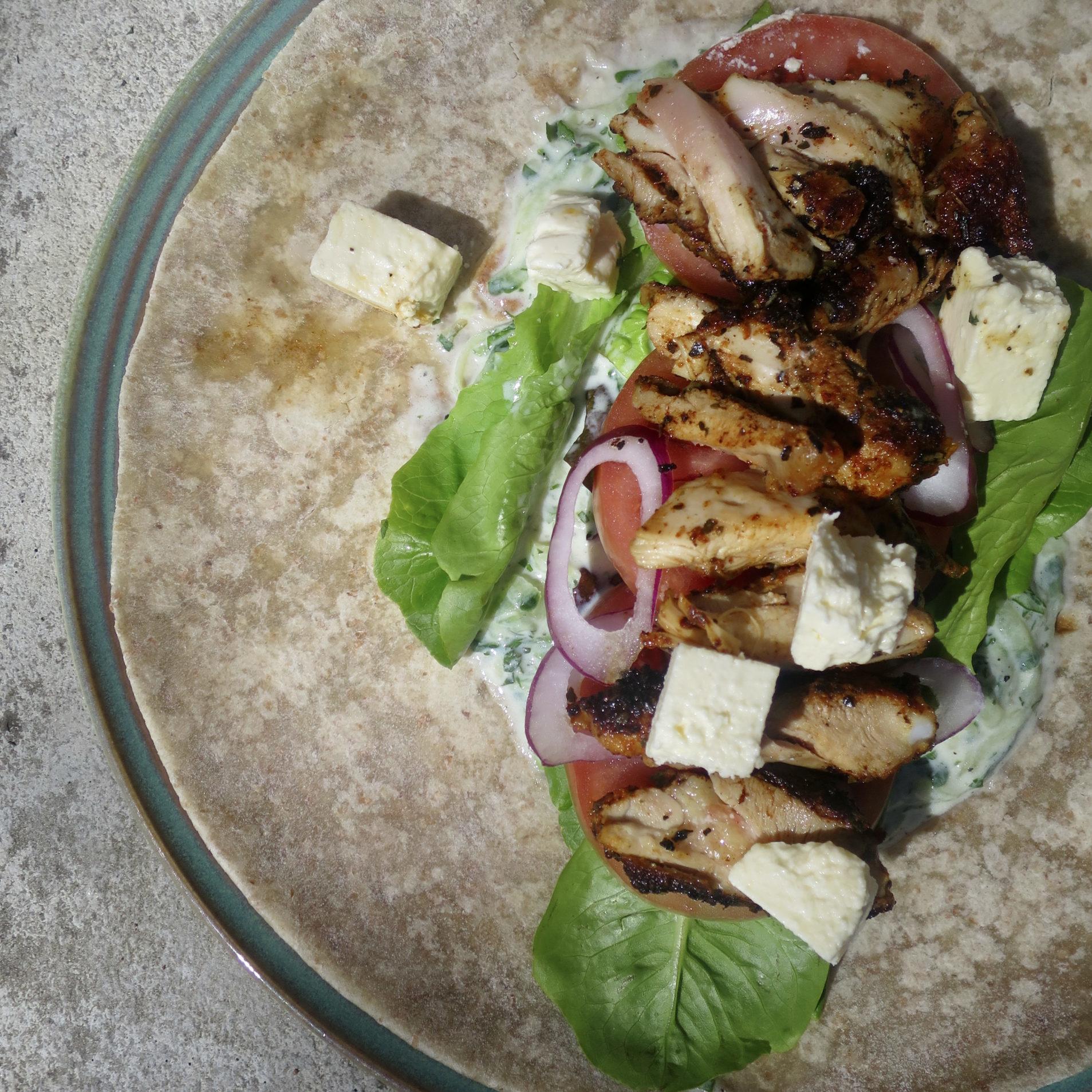 Grilled Chicken Tzatziki Wraps