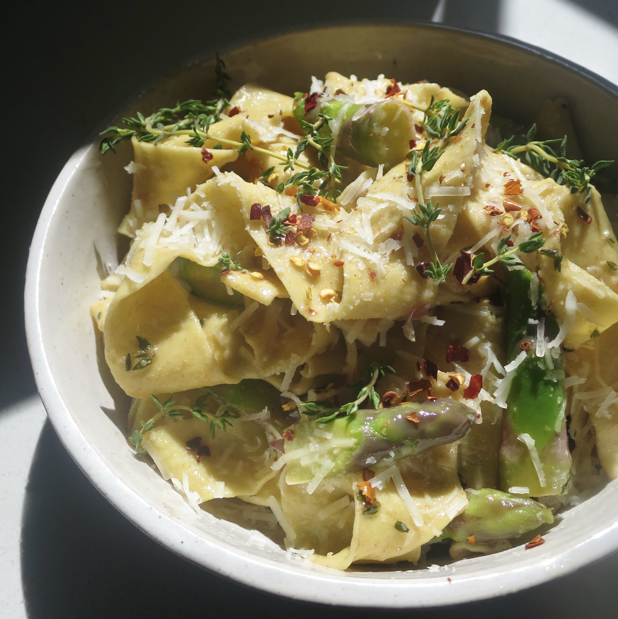 Homemade Pasta with Asparagus and Lemon